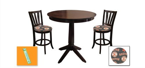 New Cappuccino / Espresso Finish Wood 3 Piece Bar Table Set includes 2 Bar Stools with Boston Red Sox Theme! Also includes a free large indoor / outdoor thermometer! at Amazon.com