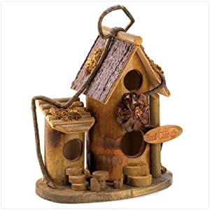 Bird Cafe Pine Two Story Wooden Wood Birdhouse Outdoor