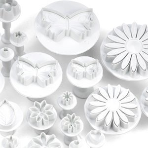 Autek 33 piezas Cake Deco calificación Tools/Sugarcraft juego de cuchillas / émbolos For reduce/Leaf Shapes