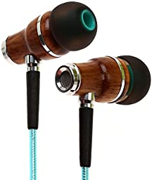 Symphonized NRG 2.0 Wood In-ear Noise-Isolating Headphones with Shield Technology Cable and Mic - Turquoise