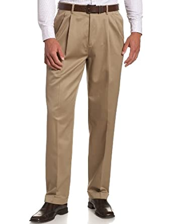 Savane Men's Pleated No-Iron Twill Pant, Fawn, 32W 30L