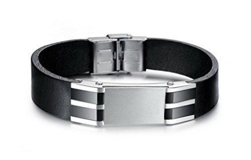 Soyagift Men Stainless Steel Black Wide Genuine Leather Belt Bracelet Wristband