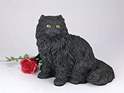 Longhair Black Cat Cremation Pet Urn for secure installation of your beloved pet's ashes indoors or outdoors