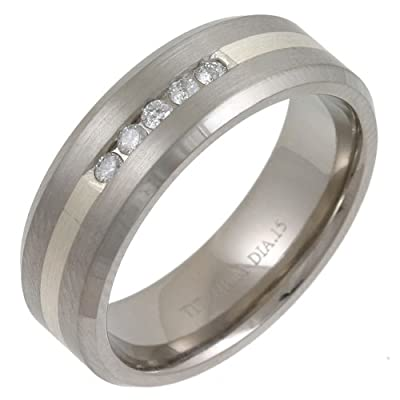 Theia Titanium and Silver Inlay Flat Court 0.15ct Diamond Matt 7 mm Ring