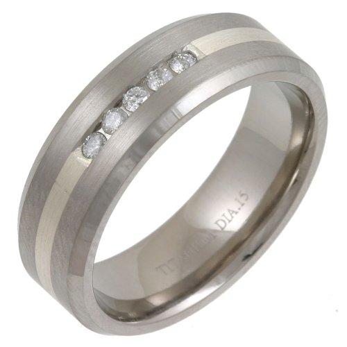 Gents' Titanium Fancy Stylish Silver  &  15pts Diamond 7mm Ring - Size V