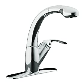 KOHLER K-6352-CP Avatar Single Control Pullout Kitchen Sink Faucet, Polished Chrome