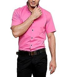 Dazzio Men's Slim Fit Cotton Casual Shirt (DZSH0910_Magenta_44)