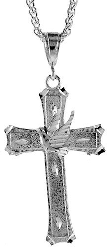 Sterling Silver Cross with Dove Pendant, 2 5/16 inch (59 mm) tall