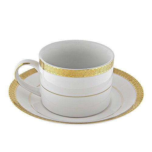 Ten Strawberry Street Luxor Gold - 6 Oz Cup And Saucer - Set Of 6 LUX-9G-6