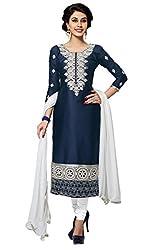 Blissta Dark Blue Cotton Unstitched Embroidered Dress Material