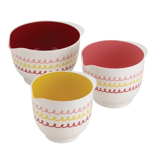 """Cake Boss Countertop Accessories 3-Piece Melamine Mixing Bowl Set, """"Icing"""""""