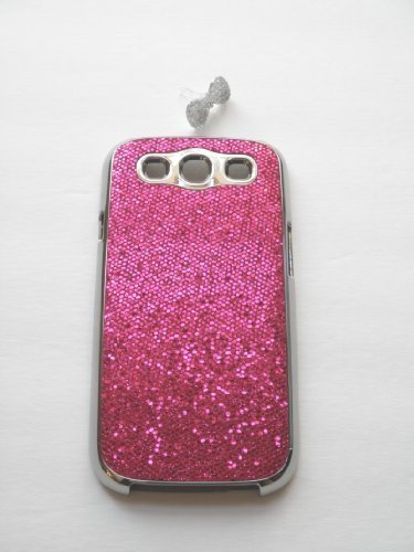 """Hot Pink"" Luxury Bling Rhinestone Chrome Splash Bling Hard Plastic Case For Samsung Galaxy S3 / Siii (Bonus: Free Bling Bow Earphone Dust Plug)"