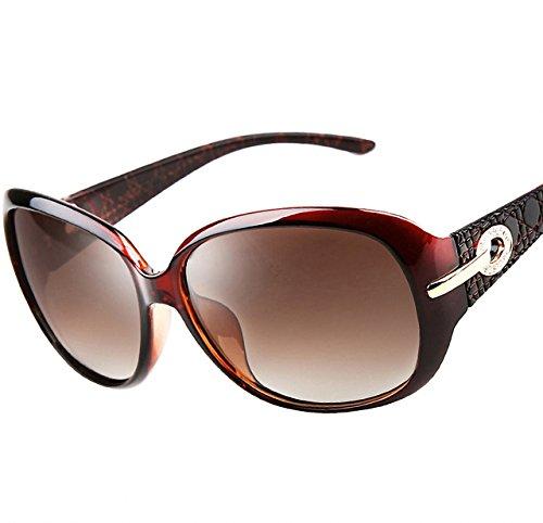 Image of ATTCL® 2015 Women Polarized UV400 Sunglasses Fashion Plaid Oversized Sunglasses 6214 Brown