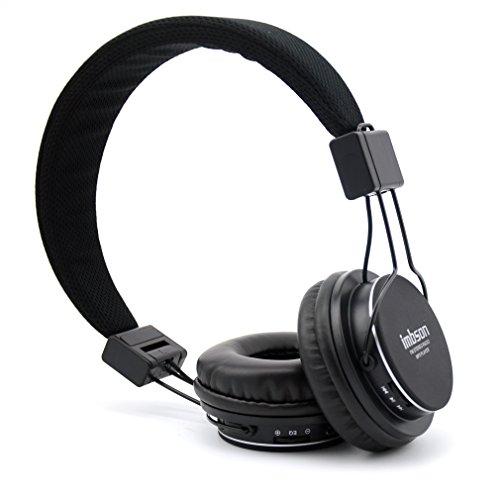 Granvela Imbson A802 Foldable Headphone Headset New Fashion Brand Music Player Wireless Handsfree Headset Headphones Earphone,Support Tf Card Fm Radio Monitor Portable Audio Pc --Black