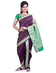 ISHIN 8 Meter Ready to wear Navari Polly silk Wine Saree