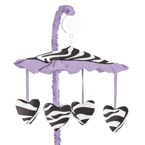 Purple Funky Zebra Musical Baby Girls Crib Mobile By Sweet Jojo Designs front-226719