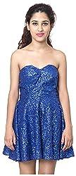 Izna Women's Slim Fit Dress (IDWD1006BL-Medium, Blue, Medium)