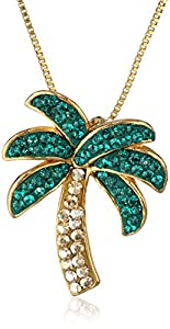 """Yellow Gold Plated Sterling Silver Palm Tree with Swarovski Elements Pendant Necklace, 18"""""""