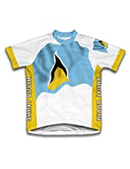 Saint Lucia Flag Short Sleeve Cycling Jersey for Women
