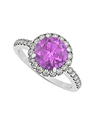 February Birthstone Amethyst And Cubic Zirconia Halo Engagement Ring925 Sterling Silver