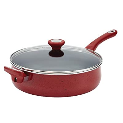 Farberware New Traditions Speckled Aluminum Nonstick 5-Quart Covered Jumbo Cooker, Red