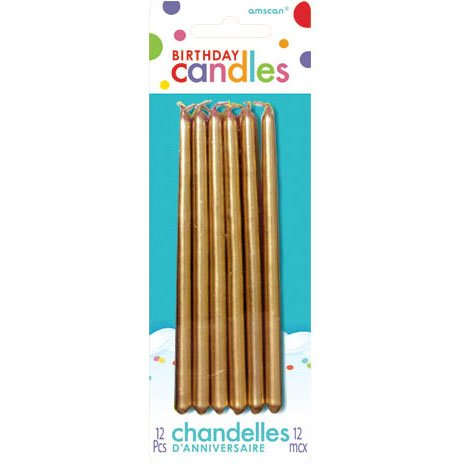 Party America Mini Taper Candles (12 Count), Gold - 1