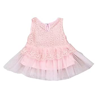 Baby Kids Girls Princess Pageant Formal Party Tutu Lace Bow Flower Gown Dress