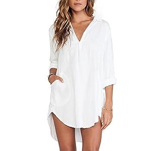 Skyblue-uk Women's Chiffon Blouse V Neck Long Sleeve Irregular Solid Top Shirt Dress