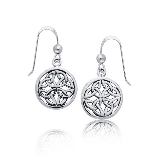 Bling Jewelry Sterling Silver Round Medallion Celtic Knotwork Dangle Earings