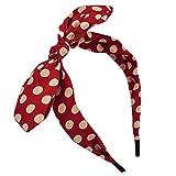Qunson Women's Polka Dot Bow Headband Hairband Red