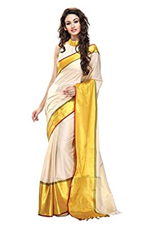 ISHIN Cotton Off White & Yellow Saree available at Amazon for Rs.3049