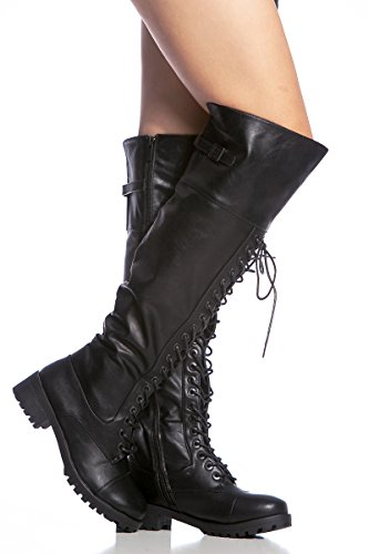 Over The Knee Thigh High Hipster Steampunk Gothic Combat Lace Up Rave Boots (5.5)