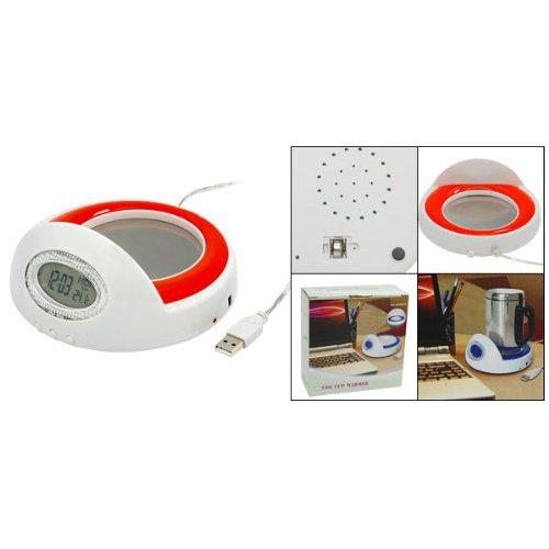 Sodial(R) Useful Usb Mug Cup Coffee Warmer Heater With Clock