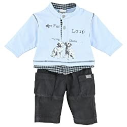 3Pommes Baby Boy's Sweat and Trousers Outfit with Print Of Two Dogs