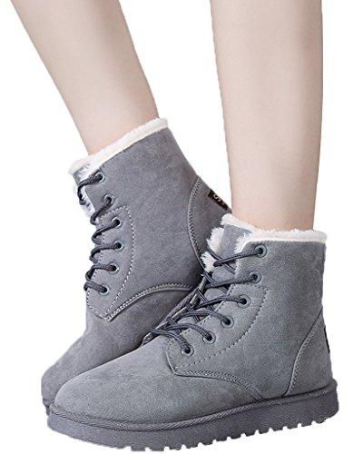 Minetom Donna Autunno Inverno Lace Up Pelliccia Classico Neve Stivali Snow Boots Stivali Cavaliere Scarpe Piatte Grigio EU 36