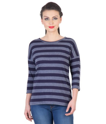 Hypernation-Dark-Blue-and-Grey-Color-Stripped-T-Shirt-For-Women