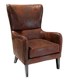 Amazon.com - Salerno Brown Fabric Studded Club Chair ...