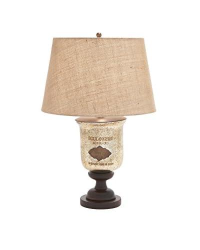 Glass & Wood Table Lamp, Natural/Brown