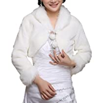 DAPENE Artificial Fur Fall/Winter Wedding Bridal Dress Shawl Coat Wraps White