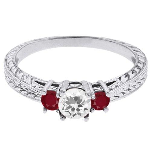 0.61 Ct Round White Topaz Red Ruby 14K White Gold 3-Stone Ring