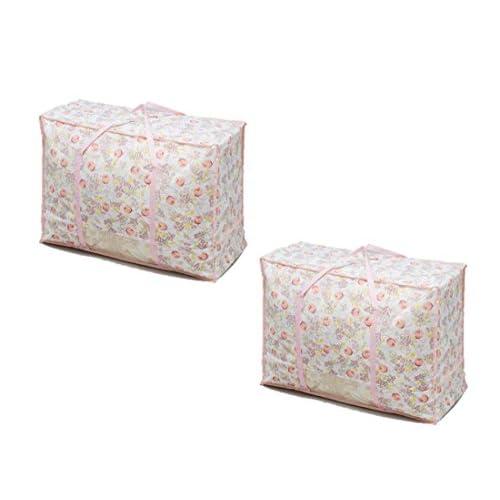☆ふとん収納ケース 2枚組(持ち手付き) 【チューリップ柄】☆ かさばる布団をスッキリ収納 チューリップ収納シリーズで収納スペースも華やかに◎ (不織布製・2枚組)
