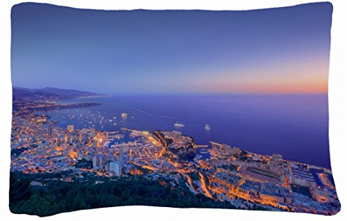 Microfiber Peach Queen Size Decorative Pillowcase -City Monaco Night Ships Lights Water Trees Building front-987156