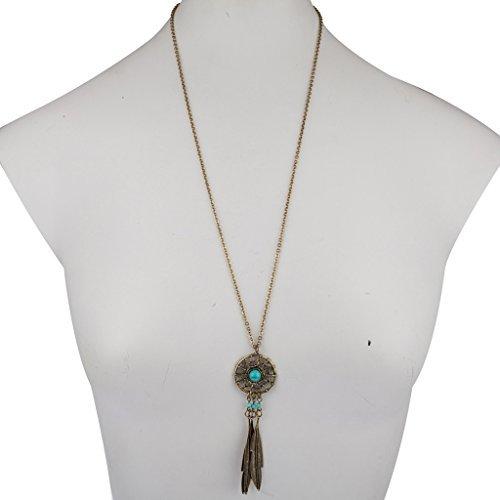 Lux accessori tribali Acchiappasogni Pendente Turchese Ciondolo Collana