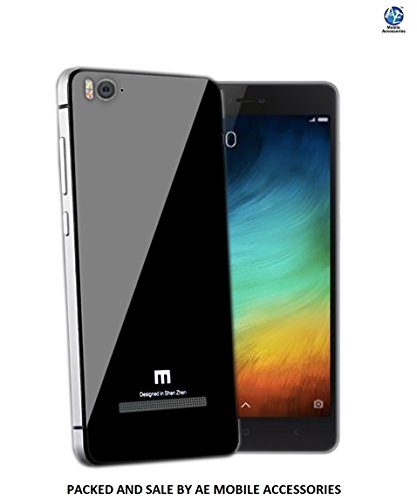 AE Luxury Aluminium Tempered Glass Battery Back Case Cover for XIAOMI MI4I- BLACK AND SILVER