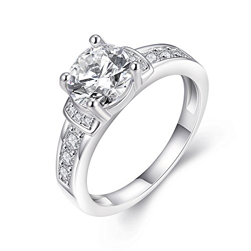Eternity Love Women's Gold Plated Princess Cut CZ Crystal Engagement Rings Best Promise Rings Anniversary Wedding Bands for Lady Girl, White Gold , 7