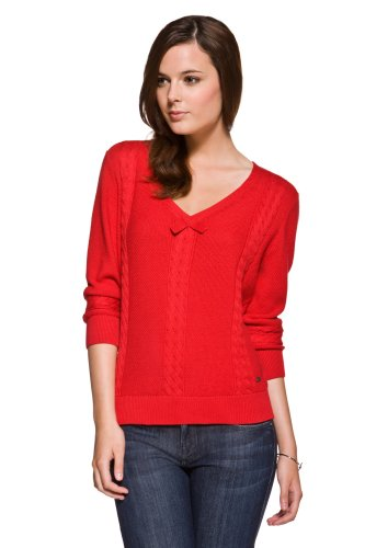 3/4 Sleeve Cotton Cable Knit V-neck Sweater