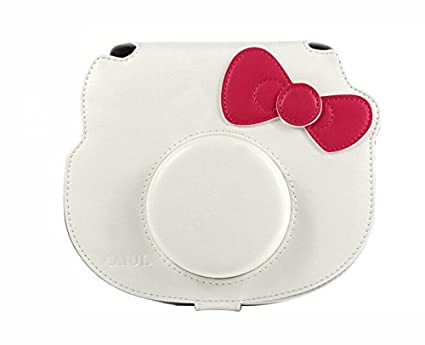 [Fujifilm-Hello-Kitty-Instant-Camera-Case]--CAIUL-Comprehensive-Protection-Fujifilm-Instax-Mini-Hello-Kitty-Instant-Film-Camera-Case-Bag-With-Soft-PU-Leather-Material-[Ever-Ready-Design-]-(-White-)