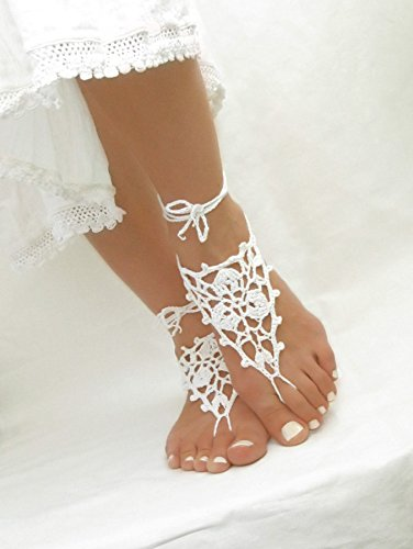 Crochet Barefoot Sandals Black Barefoot Jewelry One Size Fits All Destination Wedding Anklet Bridesmaid Barefoot Jewelry,Sexy Yoga Shoes Dance Foot Jewelry (White 2)