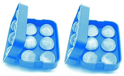 SimplexSilicone Premium Ice Ball Maker Mold - 4.5cm Ice Balls - Silicone Ice Sphere Tray - Enjoy Chilled Drinks (Whiskey, Cocktail, Coffee, Tea, Water) Without Dilution - Set of 2 (Glacier Blue) (Ice Ball Maker Mold Icy Cool compare prices)
