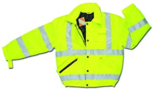 MCR Safety BMRCL3LX2 Luminator Class 3 Insulated Polyester Bomber Jacket with Loop Adjustable Wrist and 3M Scotchlite Reflective Strip, Fluorescent Lime Green, 2X-Large